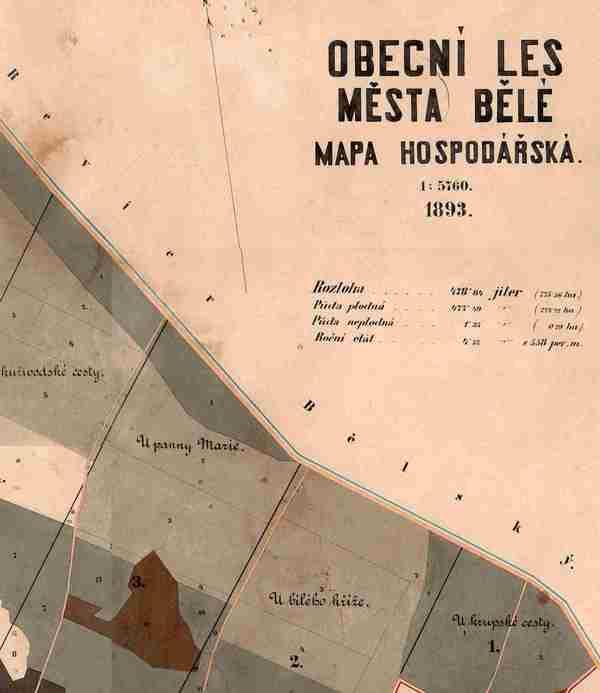 Výřez hospodářské mapy z roku 1893